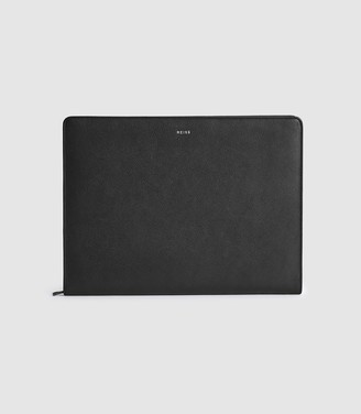 Reiss Archie - Leather Document Sleeve in Black