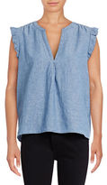 Joie Blaine Short Sleeve Chambray Blouse