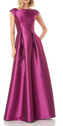 Kay Unger Addison Pleat Mikado Gown