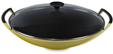 Le Creuset 14.25-Inch Wok in Soleil with Glass Lid