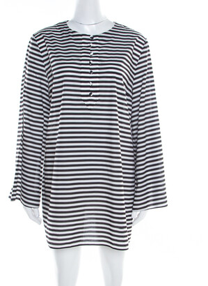 Dolce & Gabbana Monochrome Striped Cotton Long Sleeve Beach Tunic M