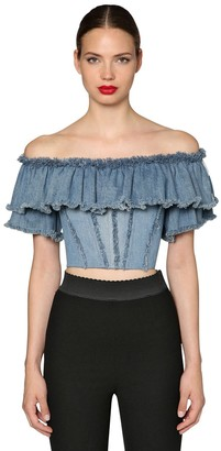 Dolce & Gabbana RUFFLED COTTON DENIM CROP TOP