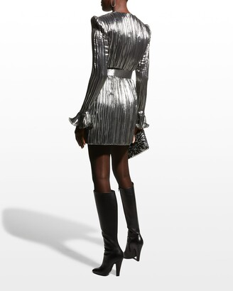 Andrew Gn Lame Crinkle Belted Mini Dress