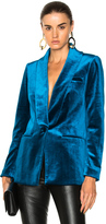 Self-Portrait Velvet Jacket in Blue.