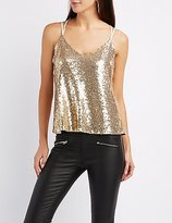Charlotte Russe Sequin Strappy Tank Top