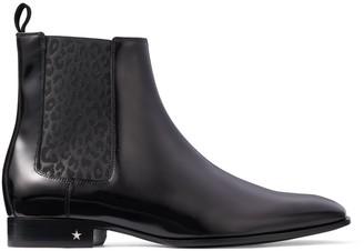 Jimmy Choo SAWYER Black Calf Leather Chealsea Boot with Leopard Print Elastic Panel