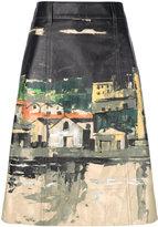 Prada village print midi skirt