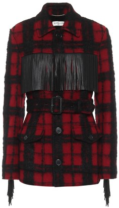 Saint Laurent Leather-trimmed checked wool-blend jacket