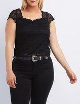 Charlotte Russe Plus Size Floral Lace Crop Top