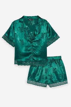 Nasty Gal Womens Lights Out Jacquard Shirt and Short Pajama Set - Green - 6, Green