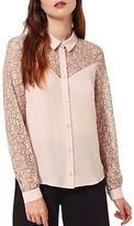 Miss Selfridge Lace Insert Button Down Shirt