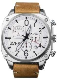 AVI-8 Men's Hawker Hunter Chronograph Retrograde Edition Tan Genuine Leather Strap Watch 45mm