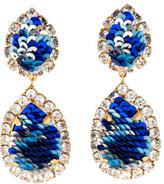 Shourouk Crystal and Blue Sequin Drop Earrings
