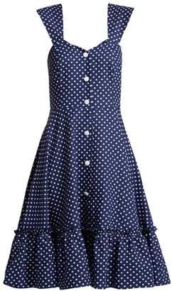 Gioia Bini Camilla Ruffle-trimmed Dress - Womens - Blue Multi