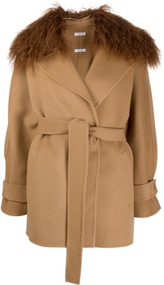 P.A.R.O.S.H. Leak shearling collar coat