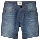 Fendi Blue Branded Print Denim Shorts