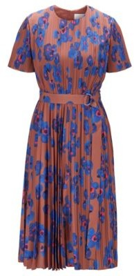 HUGO BOSS Plisse Dress With Permanent Pleats And Floral Print - Patterned