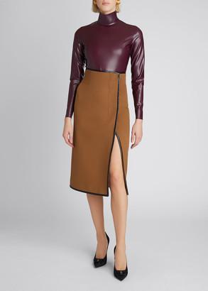 Saint Laurent Wool-Cashmere Midi Leather-Trim Pencil Skirt
