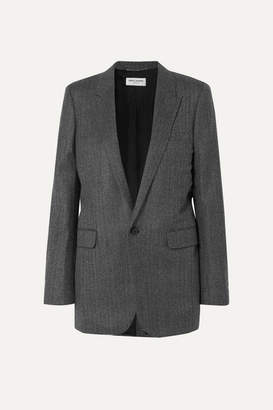 Saint Laurent Herringbone Wool Blazer - Gray