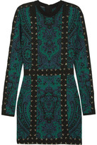 Balmain Lace-up Jacquard-knit Mini Dress - Emerald