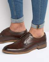 Asos Lace Up Derby Shoes In Brown Leather With Natural Sole