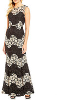 Calvin Klein Two-Tone Sleeveless Round Neck Lace Gown