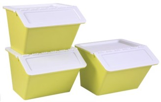 Basicwise Large Green Plastic Stackable Storage Bins set of 3