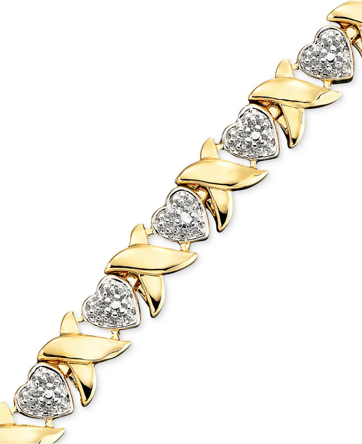 "Townsend Victoria 18k Gold over Sterling Silver Bracelet, 9"" Diamond Accent Heart Link Bracelet"
