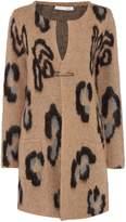 Oui Oversized leopard print cardigan
