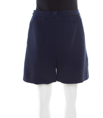 Roksanda Ilincic Navy Blue Wool Crepe High Waist Breton Shorts M