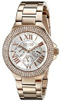 SO&CO New York Women's 5019.4 Madison Day and Date Crystal-Accented Rose-Tone Stainless Steel Link Bracelet Watch