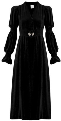 Loretta Caponi Grace Slit-front Crystal-embellished Midi Dress - Black
