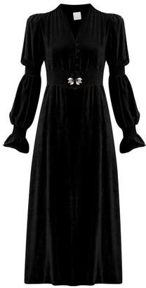 Loretta Caponi - Grace Slit-front Crystal-embellished Midi Dress - Womens - Black