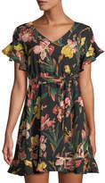 Haute Rogue Kira Floral Tie-Waist Mini Dress