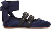 Miu Miu SSENSE Exclusive Navy Double Strap Ballerina Flats