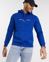 Fred Perry chest logo hoodie in royal blue