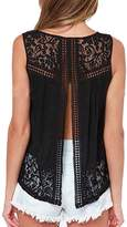KOINECO Lace Open Back Plus Size Sexy Tops for Women