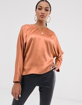 Asos Design DESIGN batwing top in satin with wrap back