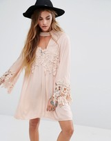 Kiss The Sky High Neck Swing Dress With Lace Inserts And Choker Neck
