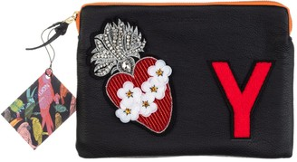 Laines London Embellished Flower Heart Personalised Classic Leather Clutch Bag - Medium - Black / Red