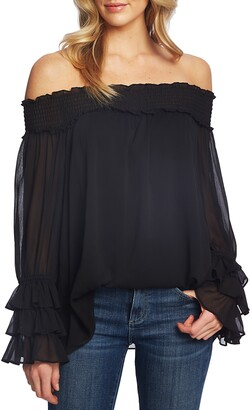 CeCe Off the Shoulder Ruffle Cuff Blouse
