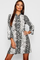 boohoo Snake Print Tie Waist Shirt Dress
