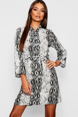 boohoo Snake Print Tie Waist Shirt Dress