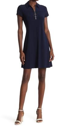 MSK Quarter Zip Short Sleeve Dress