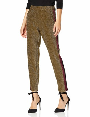 Scotch & Soda Maison Women's Tapered Lurex Pants with Velvet Side Panel Trouser