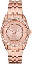 Liz Claiborne Womens Crystal Accent Rose-Tone Bracelet Watch