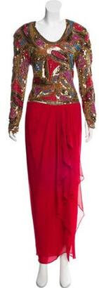 Naeem Khan Silk Embellished Dress multicolor