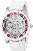 Anne Klein Women's AK/1683PKWT Pink and Fuchsia Swarovski Crystal Accented White Ceramic Bracelet Watch