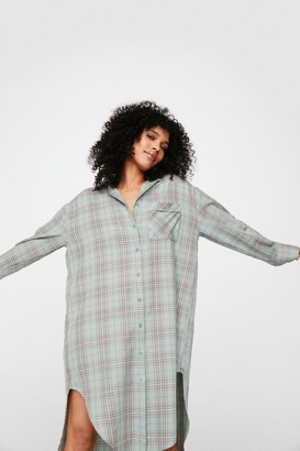 Nasty Gal Womens Check Out Time Oversized Longline Shirt - Teal