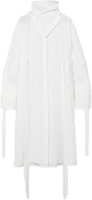 Ellery Zeni Tie-detailed Cloque Midi Dress